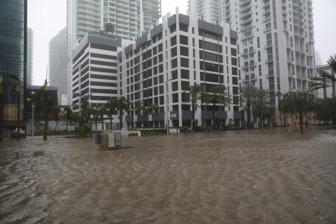 Flooding in the Brickell neighborhood as Hurricane Irma passes Miami, Florida on Sept. 10, 2017. (REUTERS/Stephen Yang)
