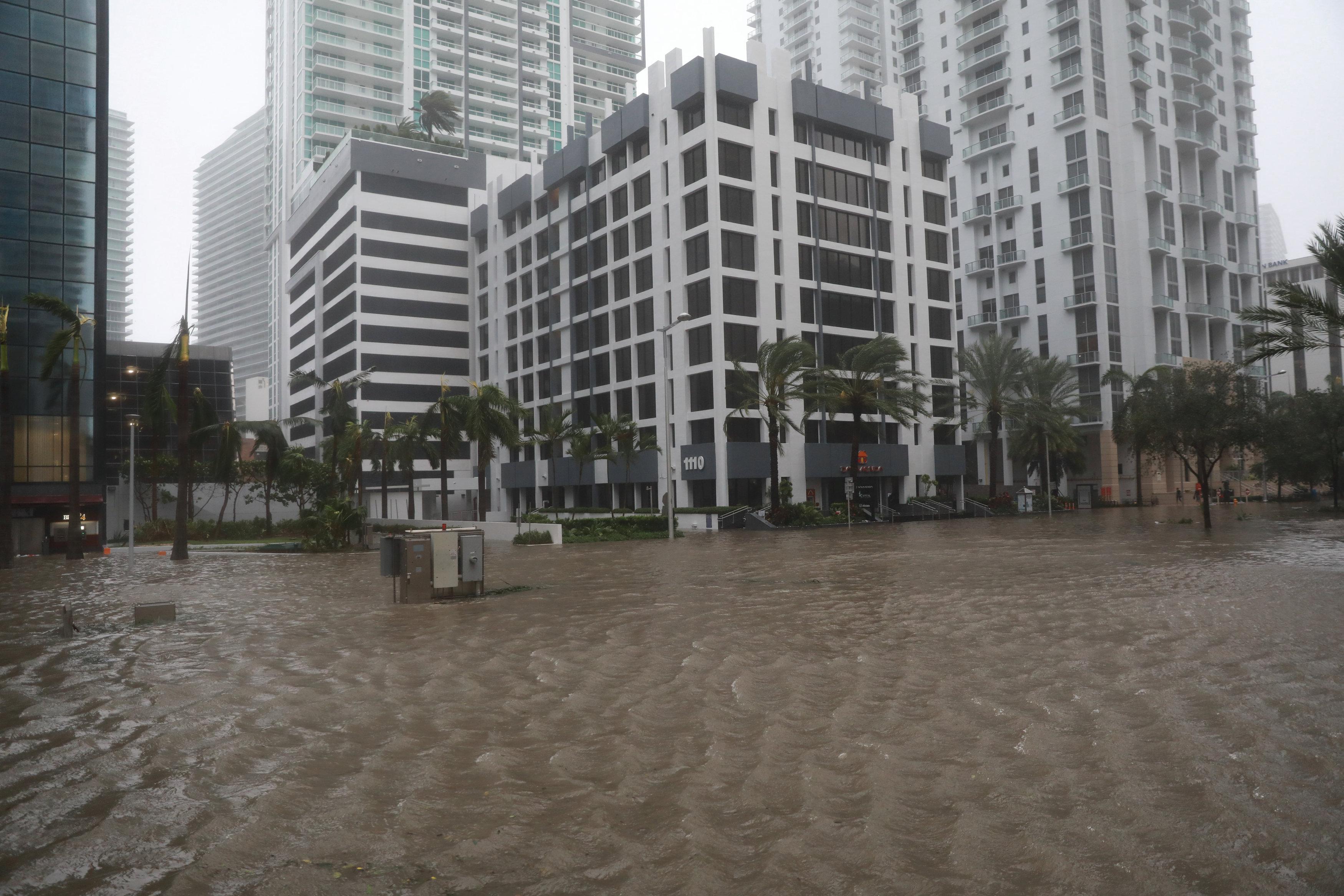 Flooding in the Brickell neighborhood as Hurricane Irma passes Miami, Florida on Sept. 10, 2017. (REUTERS/Stephen Yang)