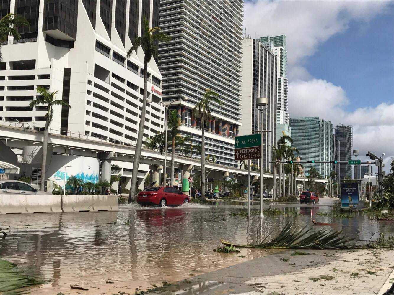 Downtown Miami on Sept. 11, 2017, after it was hit by Hurricane Irma. (The Epoch Times)