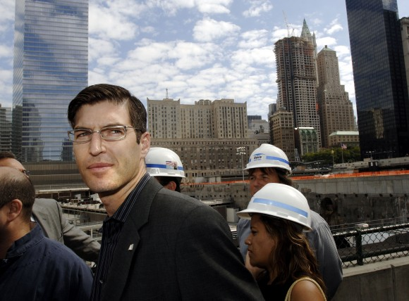 World Trade Center Memorial designer Michael Arad (L) attends the start of construction for the Memorial and Museum, 17 August, 2006, at ground zero in New York. The memorial will honor the victims of the 11 September 2001 attacks. (Photo credit should read STAN HONDA/AFP/Getty Images)