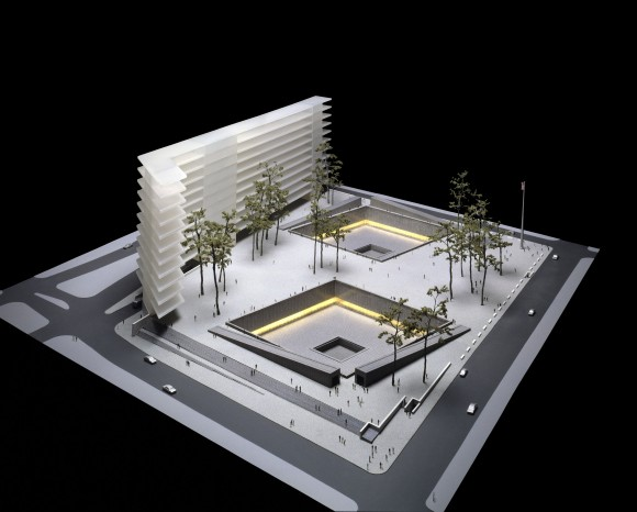 """NEW YORK - NOVEMBER 19: This artist's rendering shows """"Reflecting Absence: A Memorial at the World Trade Center Site"""" by Michael Arad, one of the eight finalists for a World Trade Center memorial released November 19, 2003 in New York City. (Photo by Lower Manhattan Development Corp. via Getty Images)"""