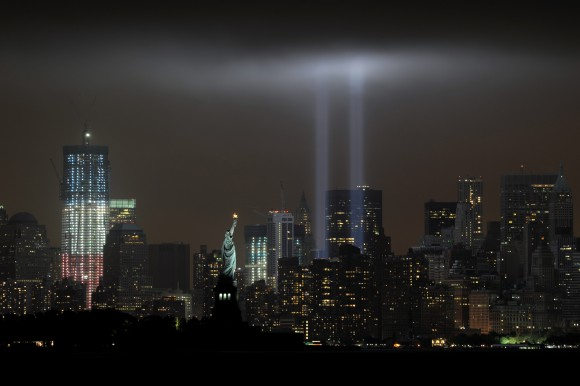 The annual Tribute in Light memorial echoing the twin towers of the World Trade Center illuminates the night sky during the 10th Anniversary of the September 11, 2001 attacks. (Stan Honda/AFP/Getty Images)