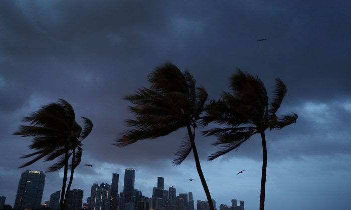 The skyline is seen as the outerbands of Hurricane Irma start to reach Florida on Sept. 9, 2017 in Miami, Florida. (Joe Raedle/Getty Images)