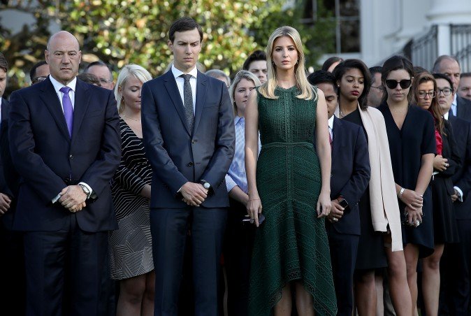 WASHINGTON, DC - SEPTEMBER 11: Ivanka Trump and Jared Kushner attend a ceremony on the South Lawn of the White House marking the September 11 attacks September 11, 2017 in Washington, DC. Today marks the 16th anniversary of the attacks that killed almost 3,000 people and wounded another 6,000. Also pictured is Gary Cohn (L), Director of the National Economic Council. (Photo by Win McNamee/Getty Images)