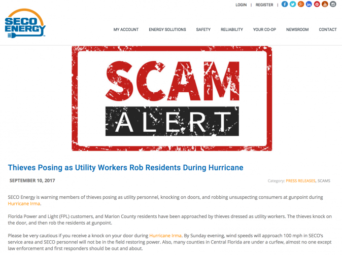SECO warned customers of a violent scam that appears to be little more than internet rumours. (Screenshot via SECO Energy)
