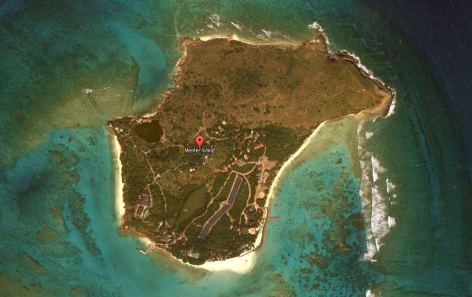 Necker Island, British Virgin Islands. (Screenshot via Google Maps)