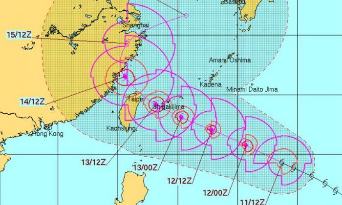 Typhoon Talim's forecast (USNO.Navy.mil)