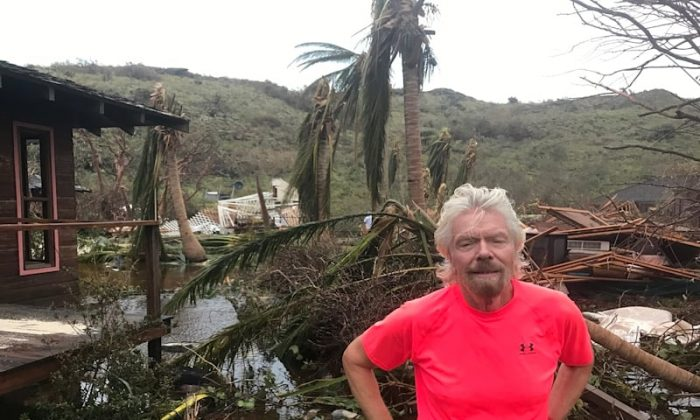 Richard Branson on Necker Island, British Virgin Islands, after it was hit by Hurricane Irma. (Virgin.com)