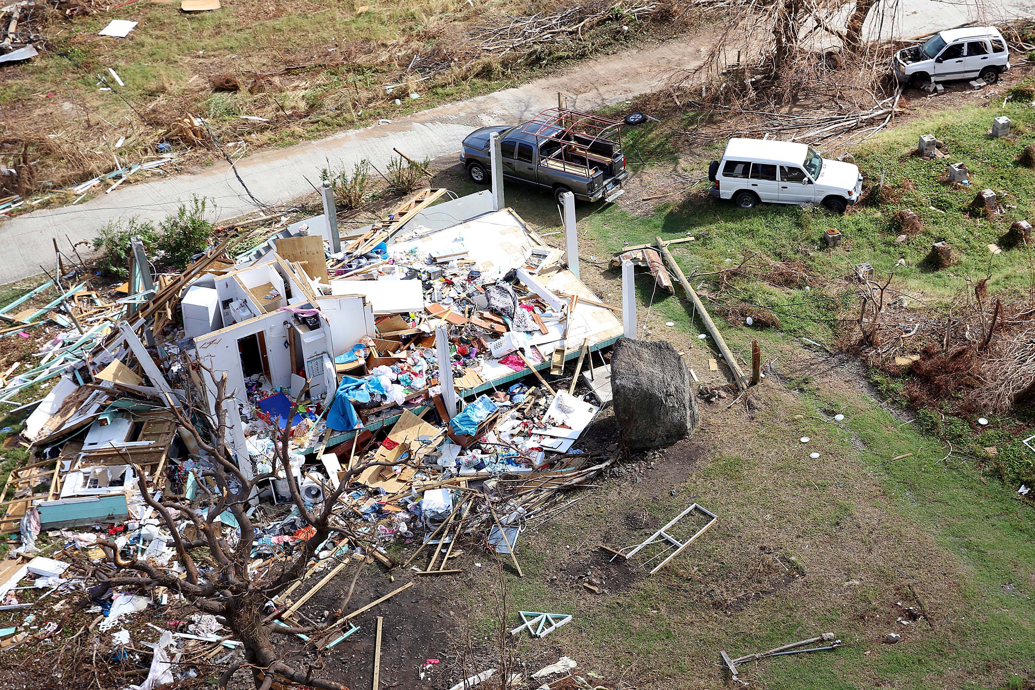 Storm damage is seen from the air after hurricane Irma passed Tortola, in the British Virgin Islands on Sept. 11, 2017. (Captain George Eatwell RM/Ministry of Defence handout via Reuters)
