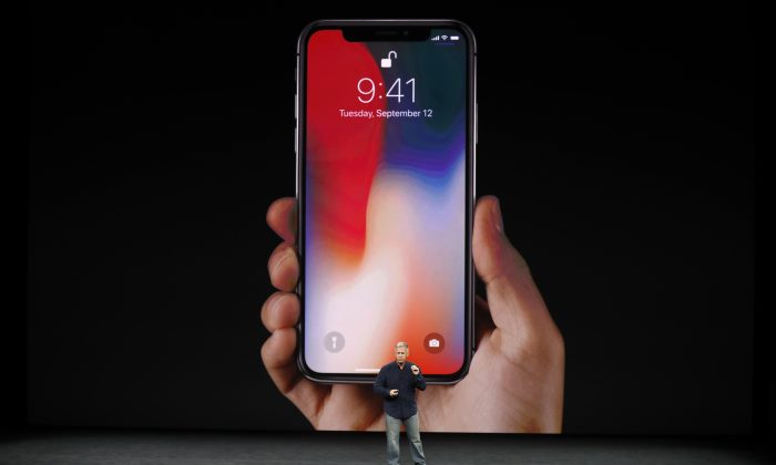 Apple Senior Vice President of Worldwide Marketing, Phil Schiller, introduces the iPhone X during a launch event in Cupertino, Calif., on Sept.  12, 2017. (REUTERS/Stephen Lam)