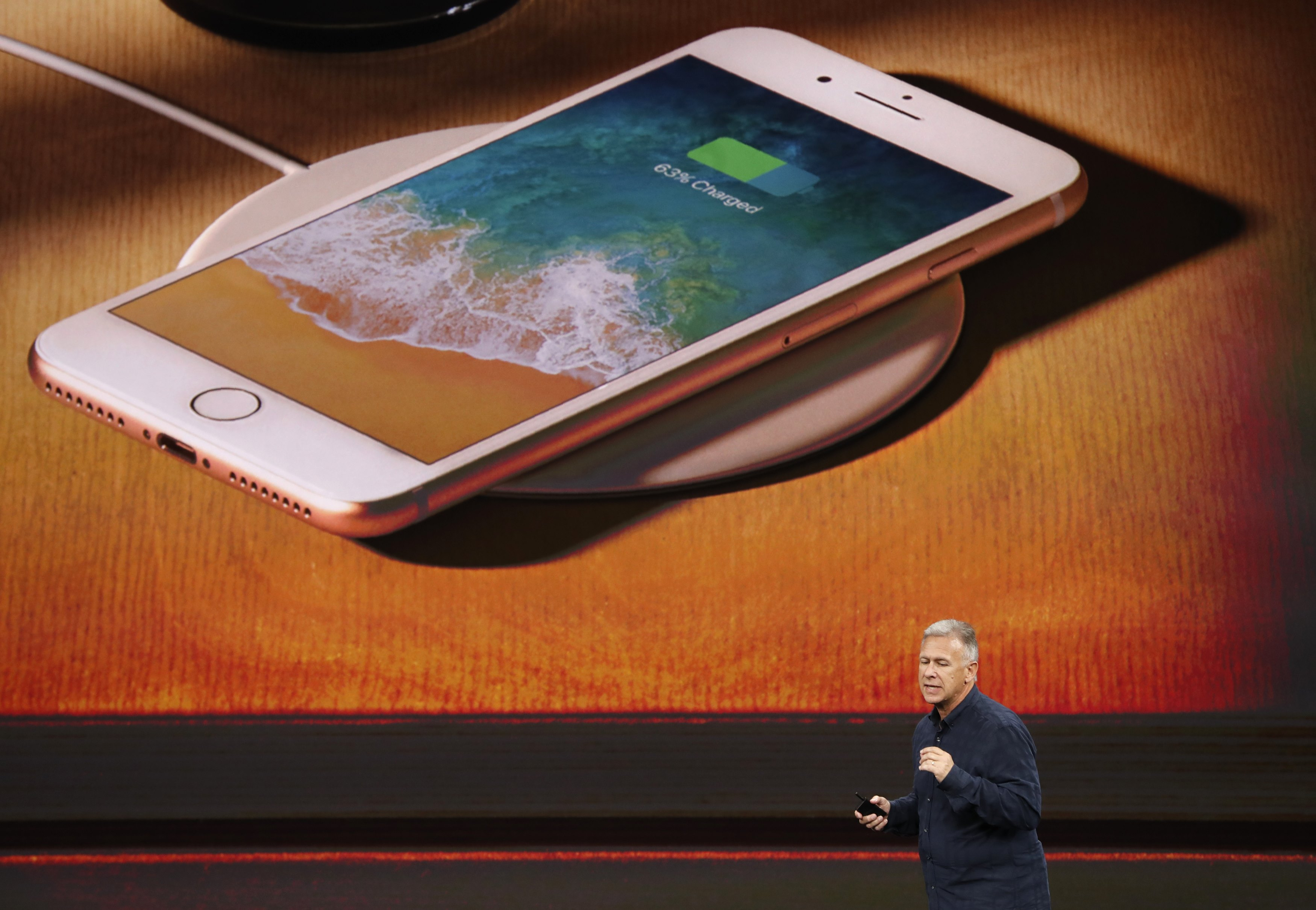 Apple Senior Vice President of Worldwide Marketing, Phil Schiller, introduces the iPhone 8 during a launch event in Cupertino, Calif., on Sept. 12, 2017. (REUTERS/Stephen Lam)