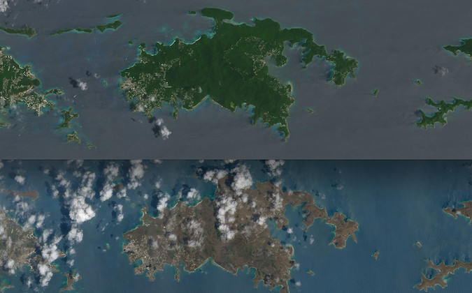 These before and after photos of St. John island reveal the dramatic loss of vegetation the island suffered due to Hurricane Irma. (Composite from NASA photos via Landsat 8 satellite)