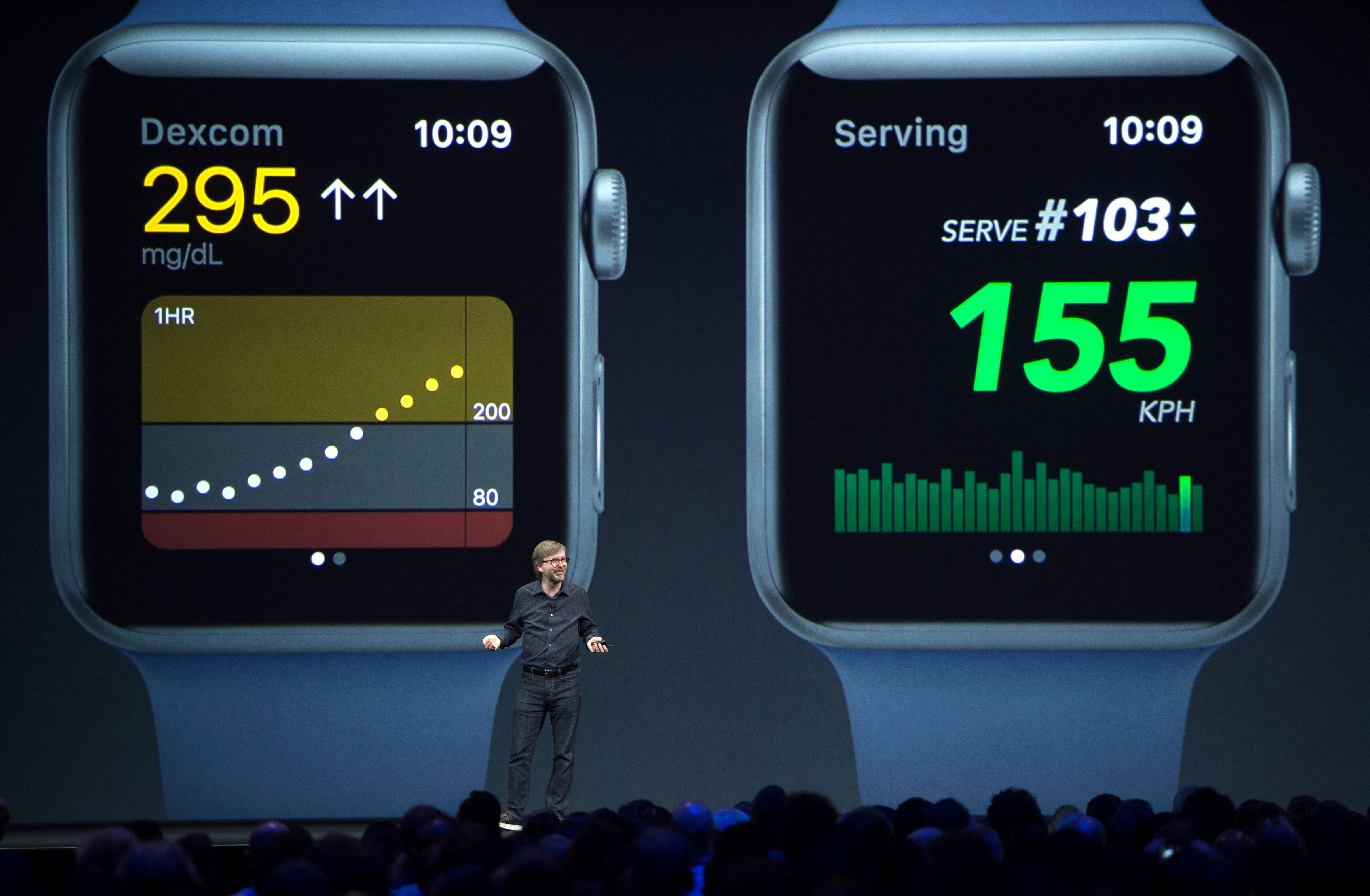 Kevin Lynch, Vice President of Technology for Apple speaks about the Apple Watch on stage during Apple's World Wide Developers Conference in San Jose, California on June 05, 2017. (JOSH EDELSON/AFP/Getty Images)