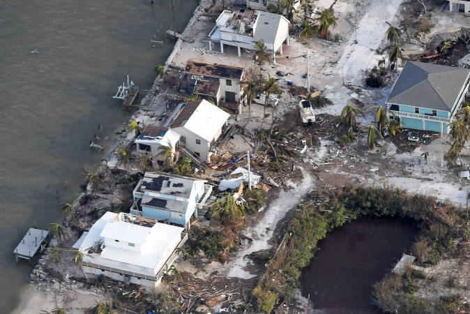 Damaged houses are seen in the aftermath of Hurricane Irma on September 11, 2017 over the Florida Keys, Florida ( Matt McClain -Pool/Getty Images)