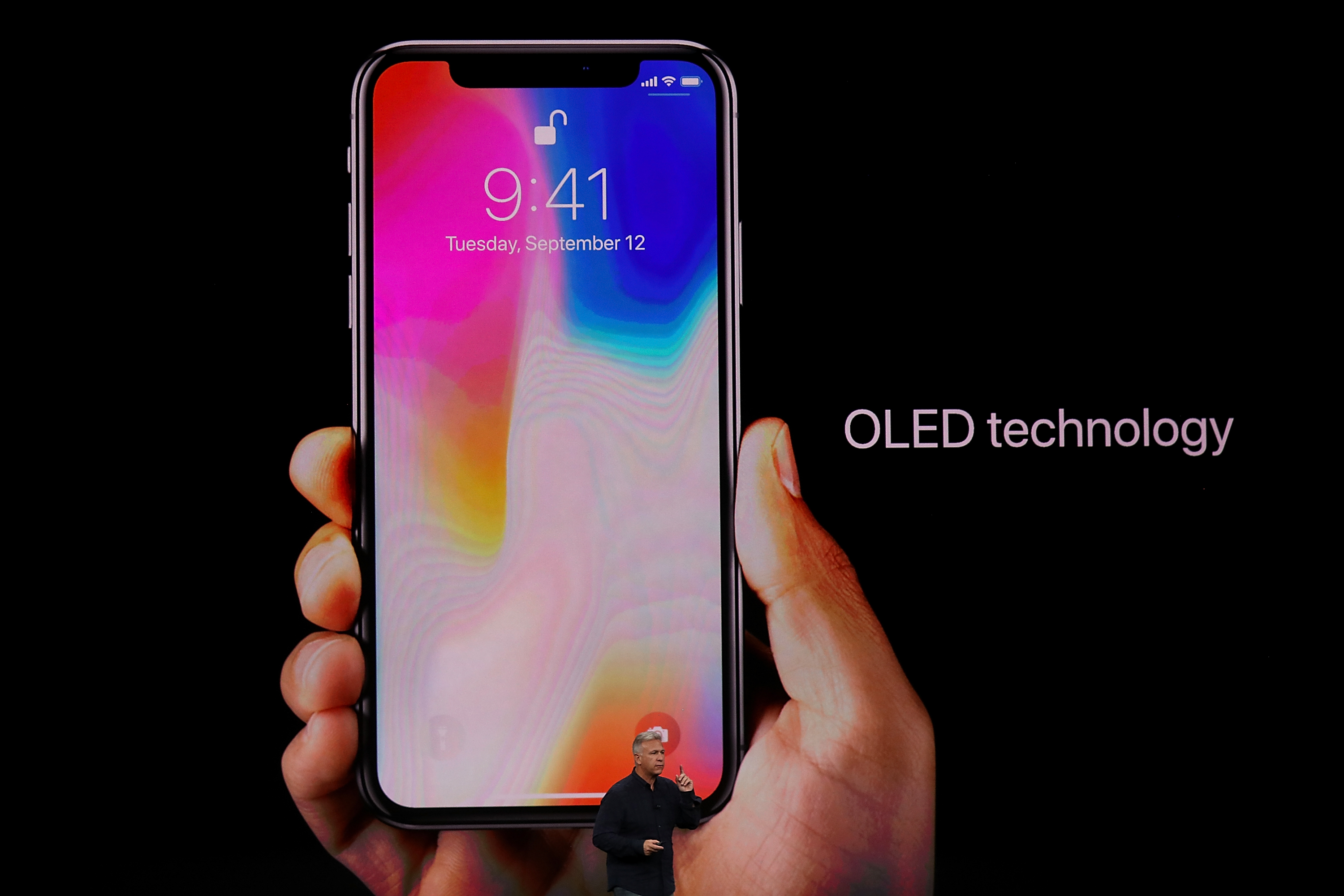 Apple Senior Vice President of Worldwide Marketing Phil Schiller introduces the new iPhone X during an Apple special event at the Steve Jobs Theatre on the Apple Park campus in Cupertino, Calif., on Sept. 12, 2017 . (Justin Sullivan/Getty Images)