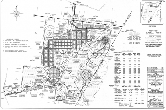 A rendering of the site plan for the Thompson Education Center in the towns of Thompson and Fallsburg in upstate New York. The dotted areas show the outline of the Harlen Swamp Wetland Complex, a New York State protected wetland. (By Pietrzak & Pfau Engineering and Surveying as submitted to the Town of Thompson Planning Board)