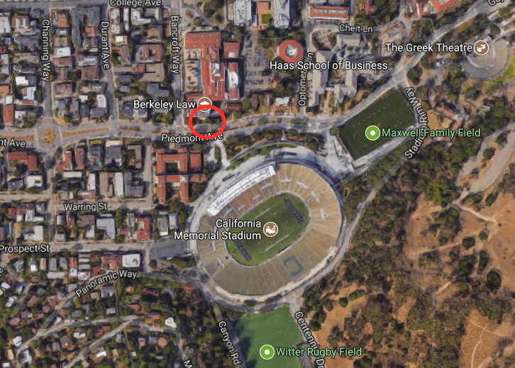 The location where a UC Berkeley Police officer confiscated money from a vendor selling hot dogs without permit in Berkeley, Calif., on Sept. 9, 2017. (Screenshot via Google Maps)