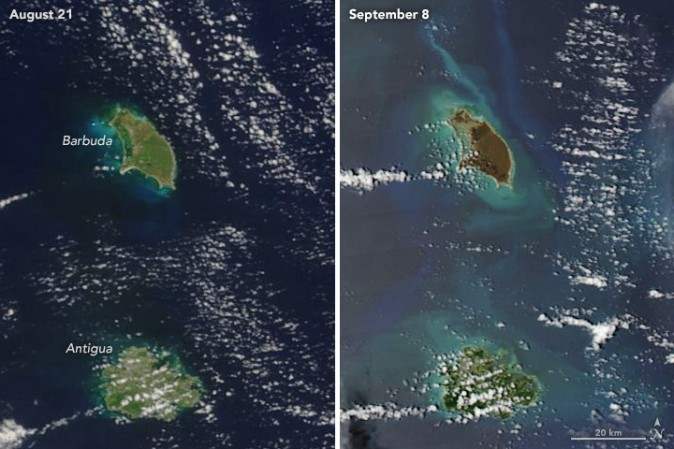 While Barbuda (top) was ravaged by Hurricane Irma, Antigua was spared the brunt of the storm and left wet, but much less severely damaged. (NASA via the MODIS spectroradiometer on the Terra and Aqua satellites)