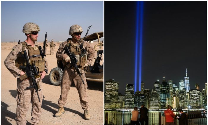 L: US Marines at the Shorab Military Camp in Lashkar Gah in the Afghan province of Helmand on Aug. 28, 2017. (WAKIL KOHSAR/AFP/Getty Images); R: The 'Tribute in Light' rises above the skyline of Lower Manhattan as seen from the Brooklyn Heights Promenade in New York City on Sept. 11, 2017. (Drew Angerer/Getty Images)