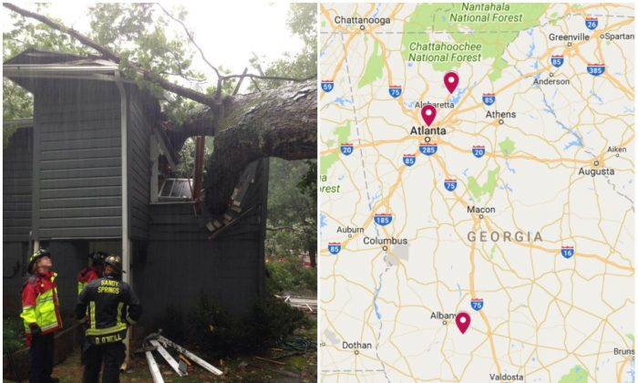 L: A tree smashed into a house killing a man inside in Sandy Springs, Ga., on Sept. 11, 2017. (City of Sandy Springs); R: Location of the three deaths due to Tropical Storm Irma in Georgia. (Screenshot via Google My Maps)