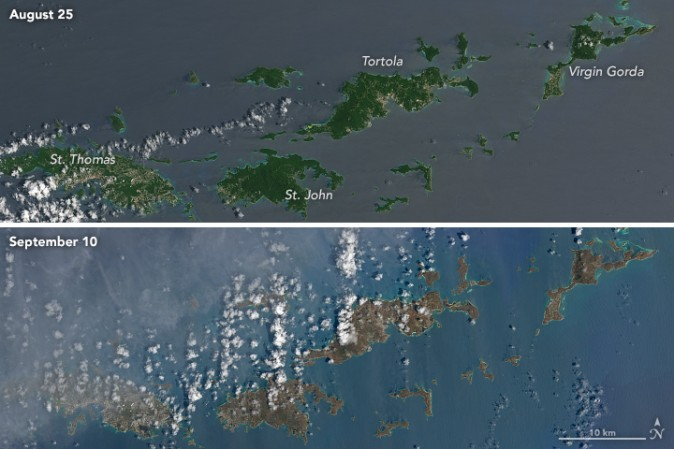 The top photo, taken Aug 25, captures the vibrant green landscape of several U.S. and British Virgin Islands. The bottom photo, taken Sept 10, reveals a dramatic change in color after Irma. Difference in ocean color is due to waves, says NASA. (NASA via Landsat 8 satellite)