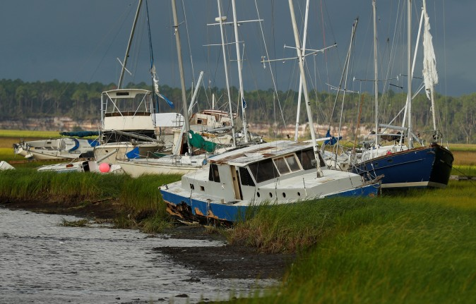 Boats are seen after being blown from the dock into the marsh after Hurricane Irma passed through in St Marys, Georgia, U.S., September 12, 2017. (Reuters/Chris Keane)