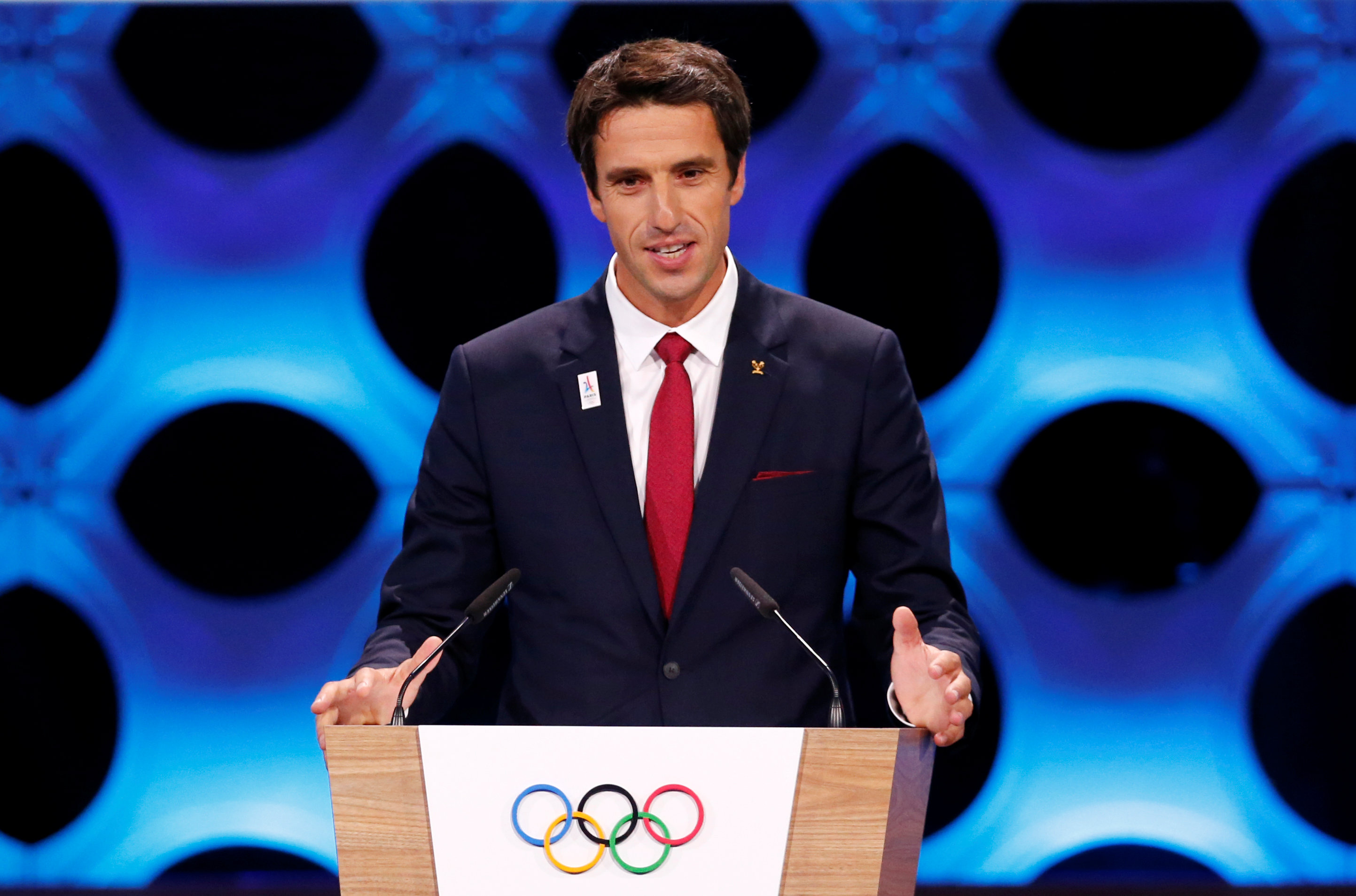 International Olympic Committee (IOC) member and Co-Chairman Paris 2024 Tony Estanguet gives a speech at the presentation of Paris 2024 at the 131st IOC session in Lima, Peru on Sept. 13, 2017. (REUTERS/Mariana Bazo)