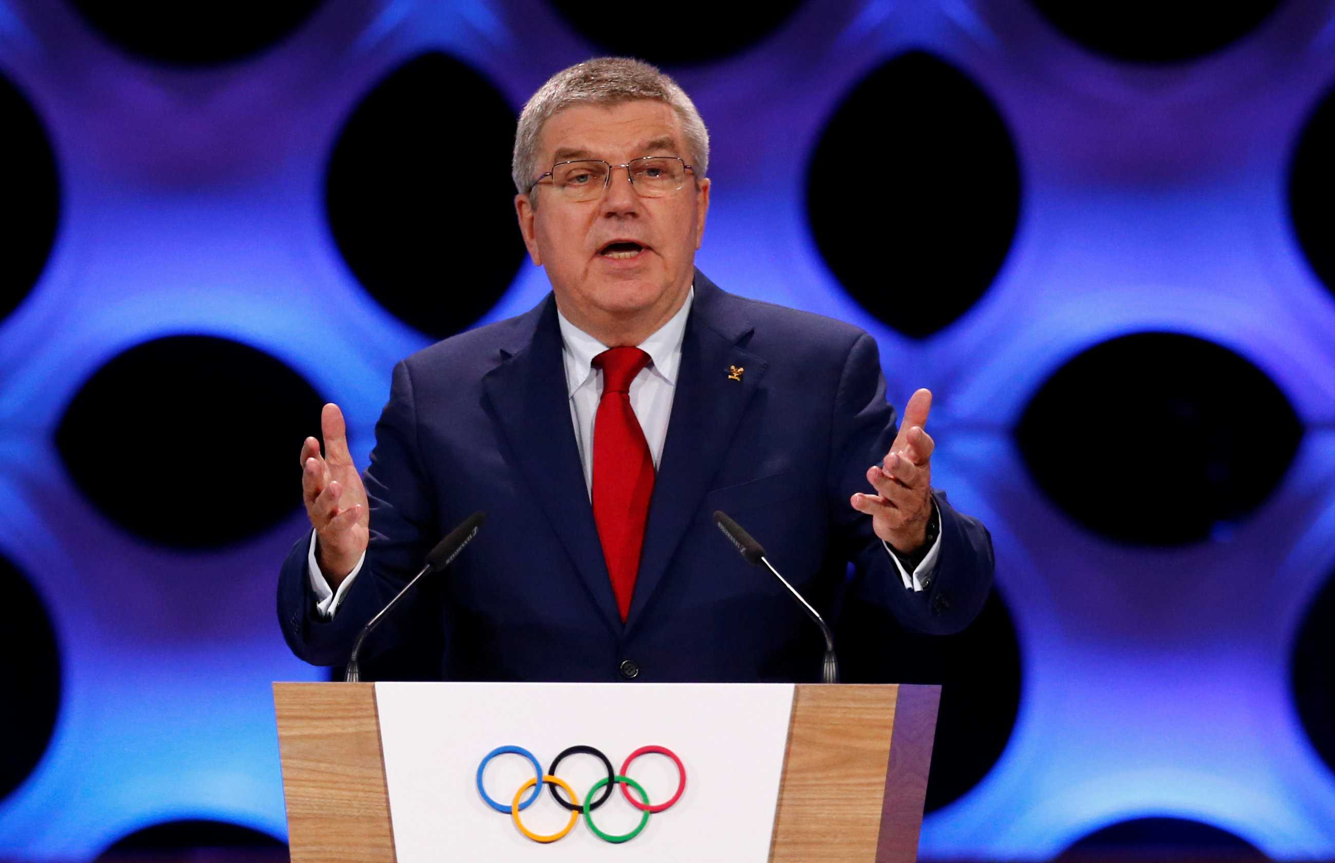 International Olympic Committee (IOC) President Thomas Bach attends the 131st IOC session in Lima, Peru on Sept. 13, 2017. (REUTERS/Mariana Bazo)