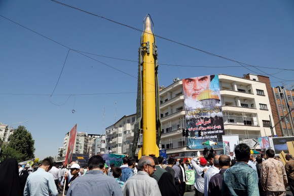 A Shahab-3 medium-range missile is displayed during a rally marking Al-Quds (Jerusalem) Day in Tehran, Iran, on June 23. Chants against the Saudi royal family and the ISIS terrorist group mingled with the traditional cries of