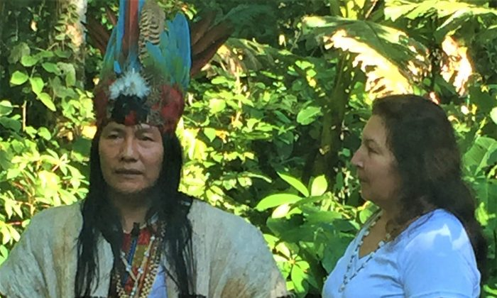 Anita Sanchez with a Sapara healer in the Amazon rainforest. (Julie Hall)