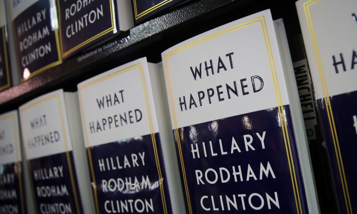 Copies of Hillary Clinton's new book 'What Happened' sit on a shelf before a book signing event at Barnes and Noble bookstore September 12, 2017 in New York City. (Drew Angerer/Getty Images)