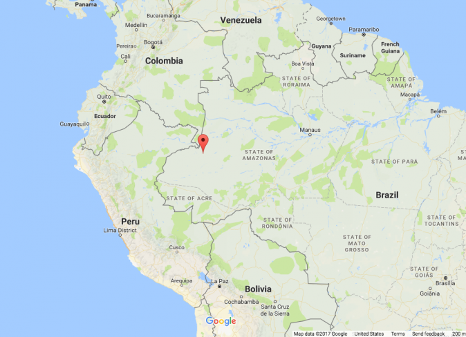 Javari Valley in the remote west of Brazil. (Screenshot via Google Maps)