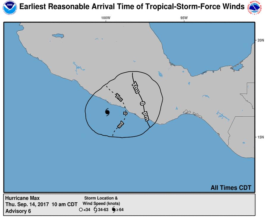 Hurricane Max's forecast (NOAA/ NHC)