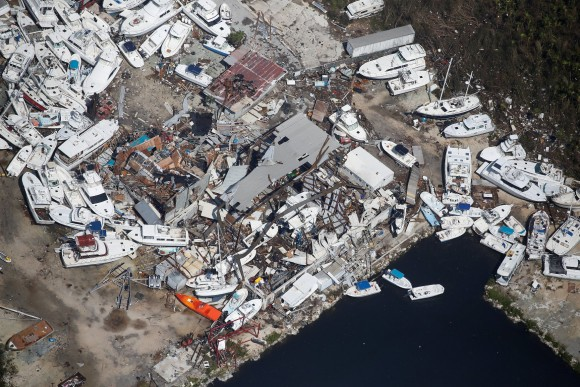A destroyed marina is pictured in an aerial photo in the Keys in Marathon, Florida, U.S., September 13, 2017. REUTERS/Carlo Allegri