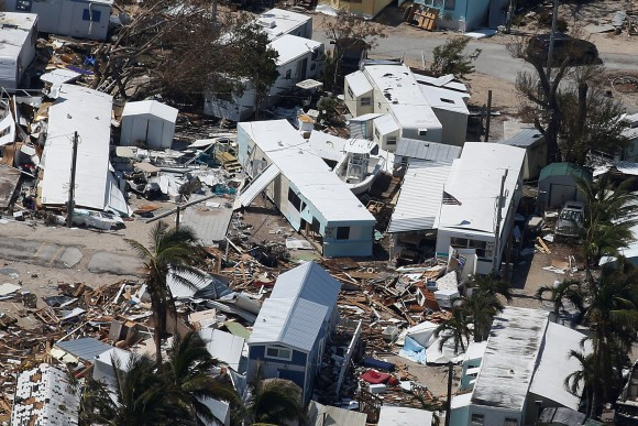 A destroyed trailer park is pictured in an aerial photo in the Keys in Marathon, Florida, U.S., September 13, 2017. REUTERS/Carlo Allegri