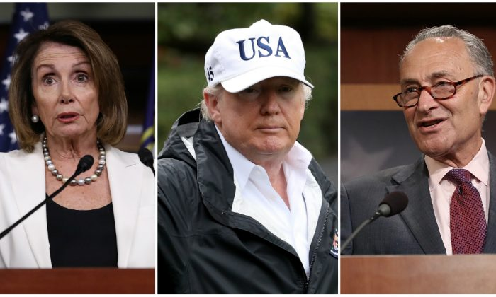 House Minority Speaker Nancy Pelosi, President Donald Trump, and Senate Minority Leader Chuck Schumer started negotiations on a deal for a permanent fix for DACA recipients. (Getty Images)