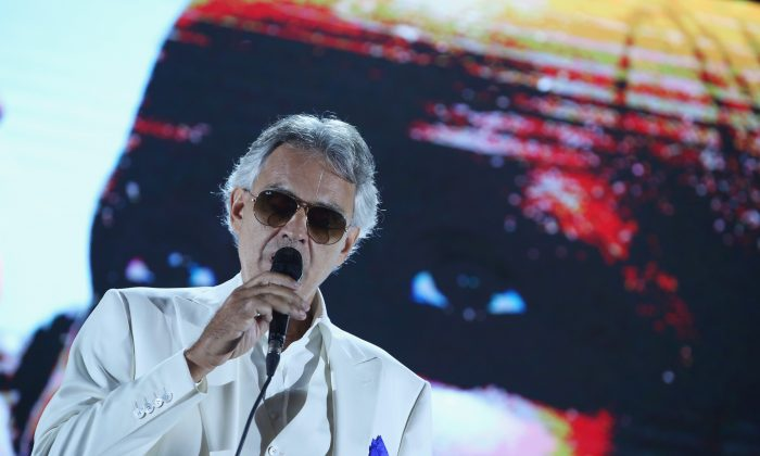 Andrea Bocelli performs the Closing Night Gala at Cinecittà as part of the 2017 Celebrity Fight Night in Italy Benefiting The Andrea Bocelli Foundation and the Muhammad Ali Parkinson Center on September 10, 2017 in Rome, Italy.  (Jonathan Leibson/Getty Images for Celebrity Fight Night)