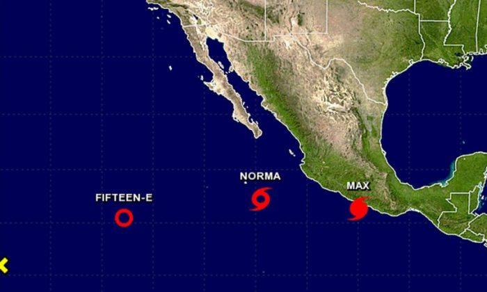 Tropical Storm Norma and Hurricane Max (NHC/ NOAA)
