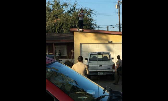 An intruder was spotted on the roof near Nelson and Orange avenues, California, in the early hours of Tuesday morning. (Ashley Wrenn)