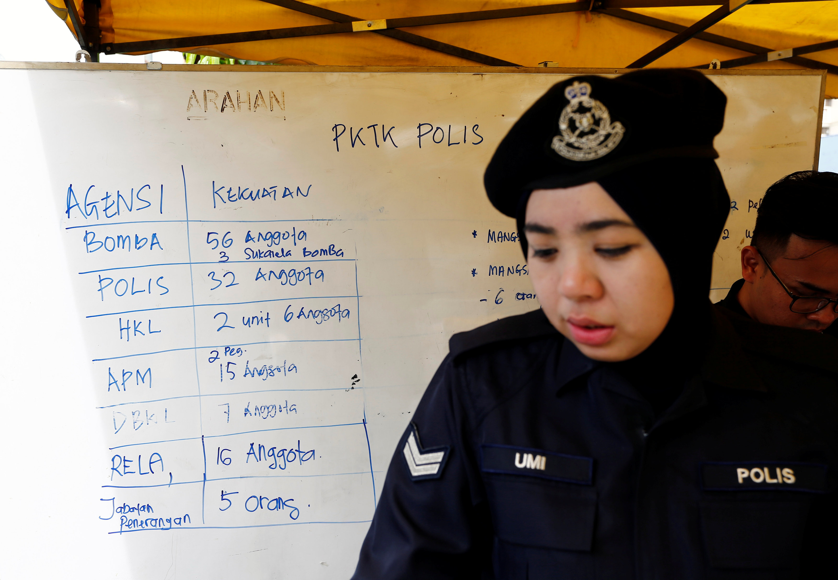 A policewoman stands next to a noticeboard accounting for manpower involved in the aftermath of a fire at religious school school Darul Quran Ittifaqiyah in Kuala Lumpur, Malaysia on Sept. 14, 2017. (REUTERS/Lai Seng Sin)