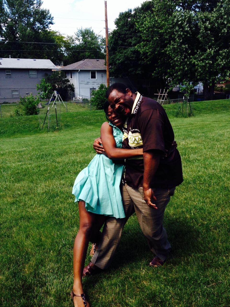 Marlene Djidjoho hugging her dad, Pierre. (Photo courtesy of Marlene Djidjoho)