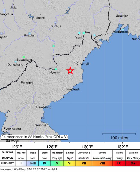 A map showing the Sept. 3, 2017 earthquake recorded in North Korea that was caused by a nuclear bomb test. (Screenshot via USGS)