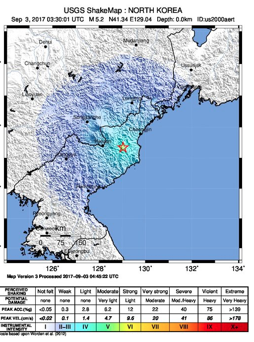 A map showing the Sept. 3, 2017 range of an earthquake recorded in North Korea near the border with China that was caused by a nuclear bomb test. (Screenshot via USGS)