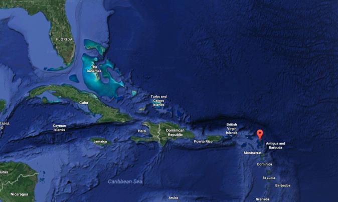 The location of the Island of Barbuda. (Screenshot via Google Maps)