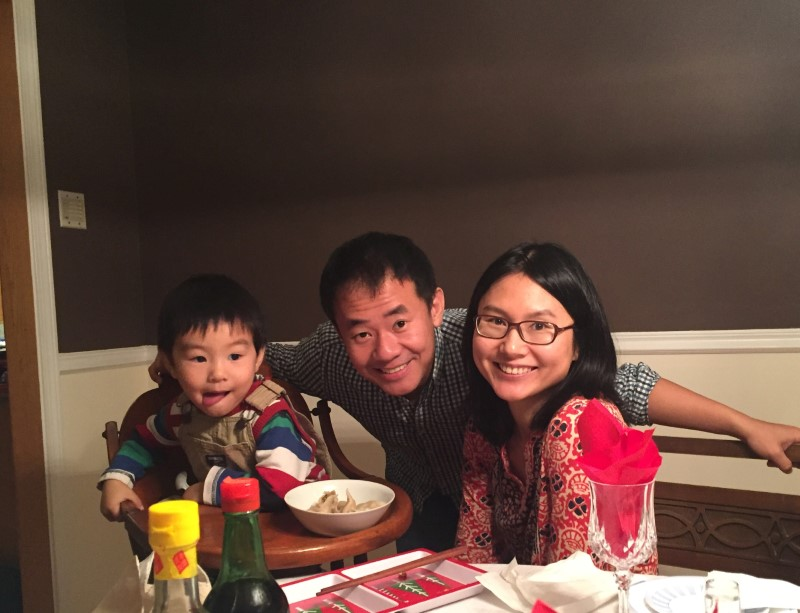 Xiyue Wang, a naturalized American citizen from China, arrested in Iran last August while researching Persian history for his doctoral thesis at Princeton University, is shown with his wife and son in this family photo released in Princeton, New Jersey on July 18, 2017.(Courtesy Wang Family photo via Princeton University/Handout via REUTERS)