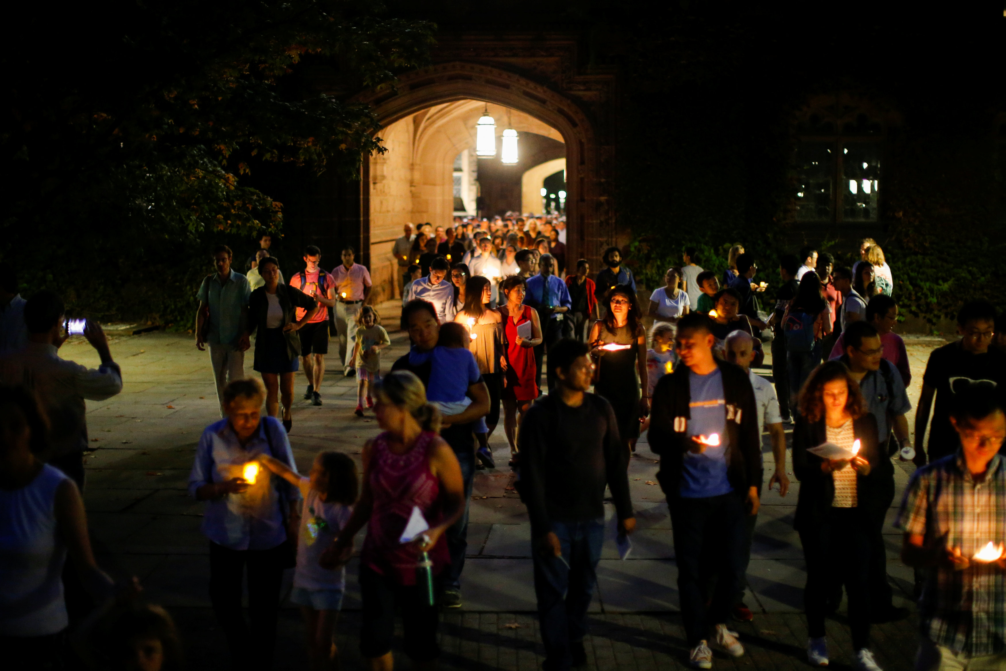 People attend a vigil for Xiyue Wang at Princeton University in Princeton, New Jersey on Sept. 15, 2017. (REUTERS/Eduardo Munoz)