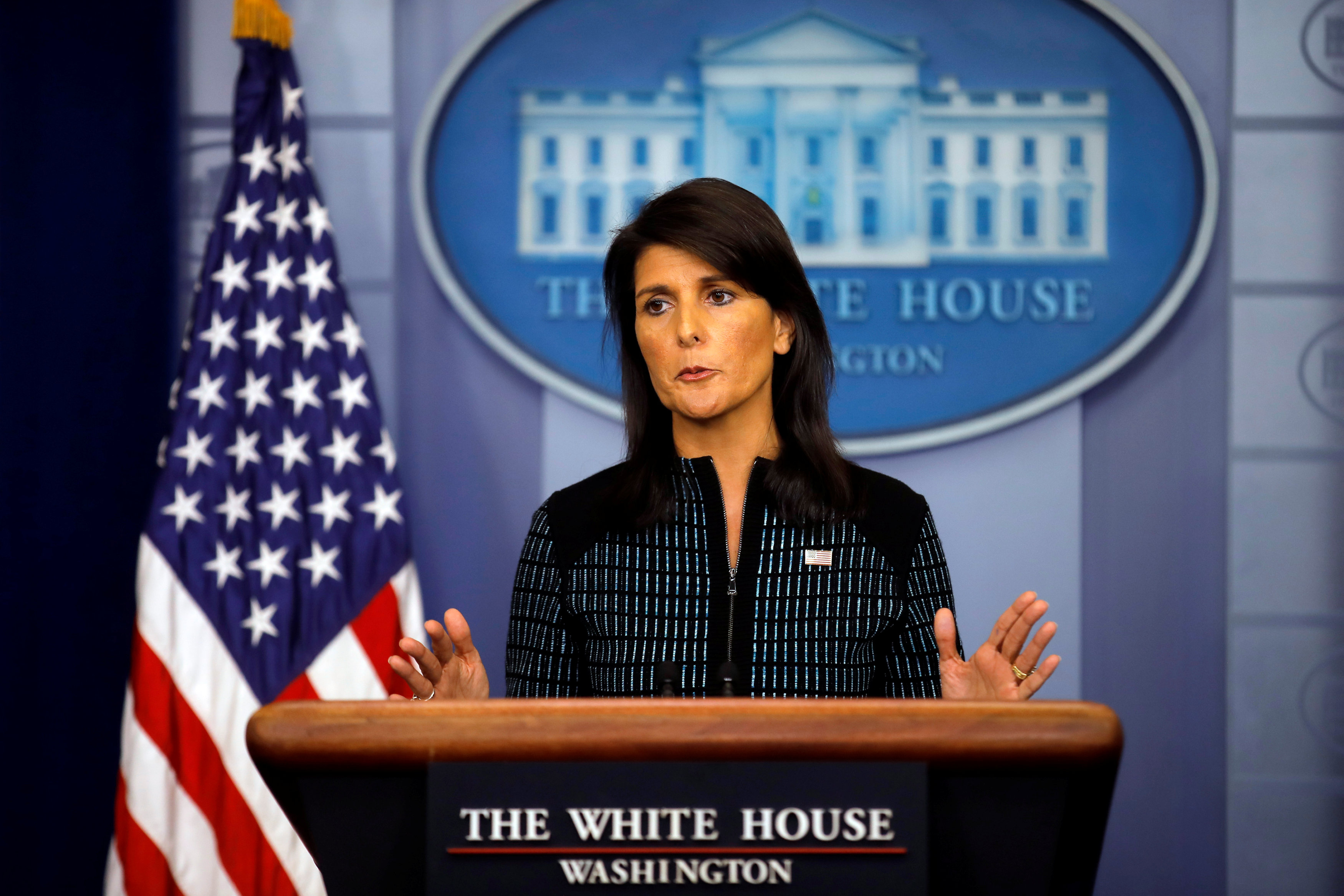 U.S. Ambassador to the UN, Nikki Haley attends the daily briefing at the White House in Washington on Sept. 15, 2017. (REUTERS/Carlos Barria)