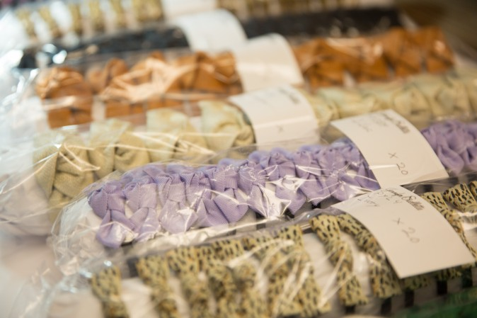 Handmade bows that will be shipped out to Japan. (Benjamin Chasteen/The Epoch Times)