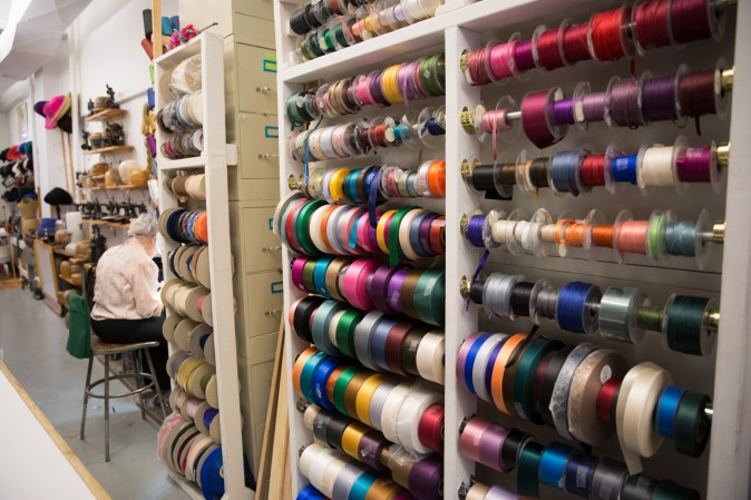 Ribbons from Switzerland used for hat making at Jennifer Ouellette's studio. (Benjamin Chasteen/The Epoch Times)