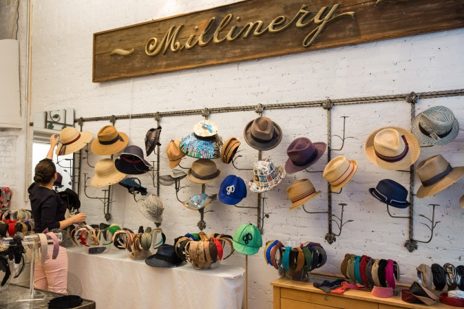 Hats on display at the Jennifer Ouellette studio in New York. (Benjamin Chasteen/The Epoch Times)